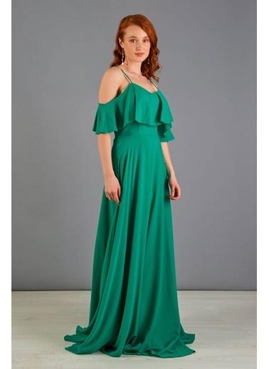 Carmen  Askılı Uzun Nikah Dış Çekim Elbisesi Yeşil